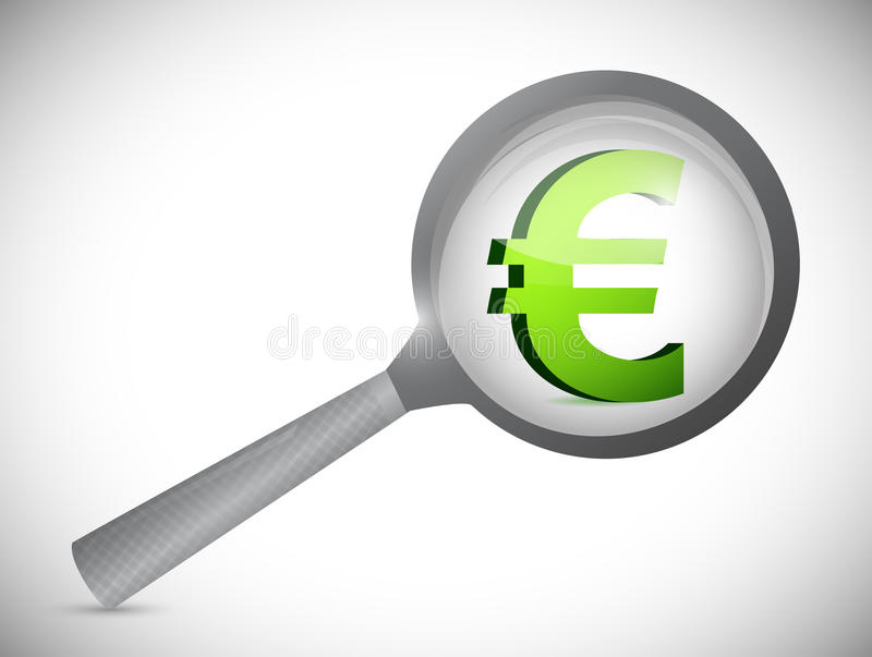 Euro Currency Symbol Under Review Illustration Stock Images