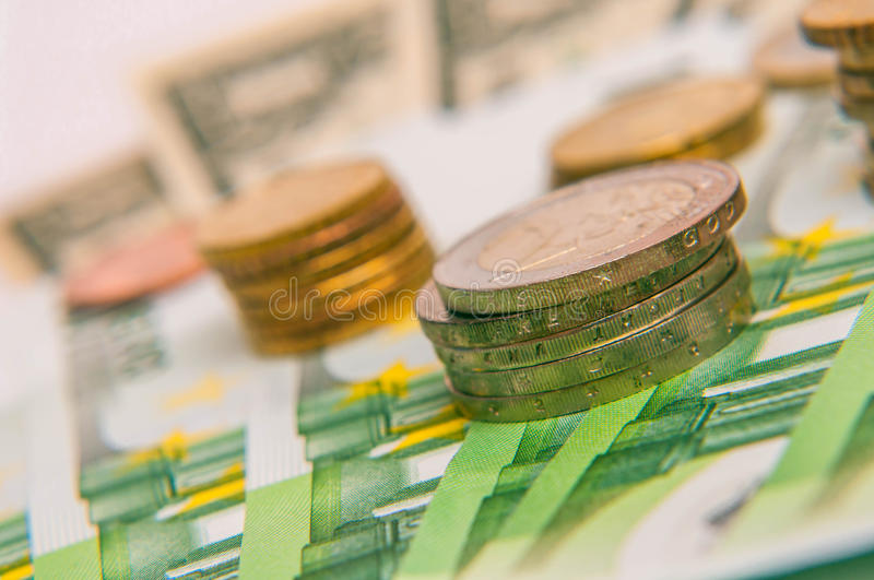 Euro currency. A tower of Euro coins, banknote, European currency stock image