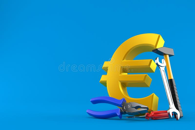 Euro currency with work tools stock illustration