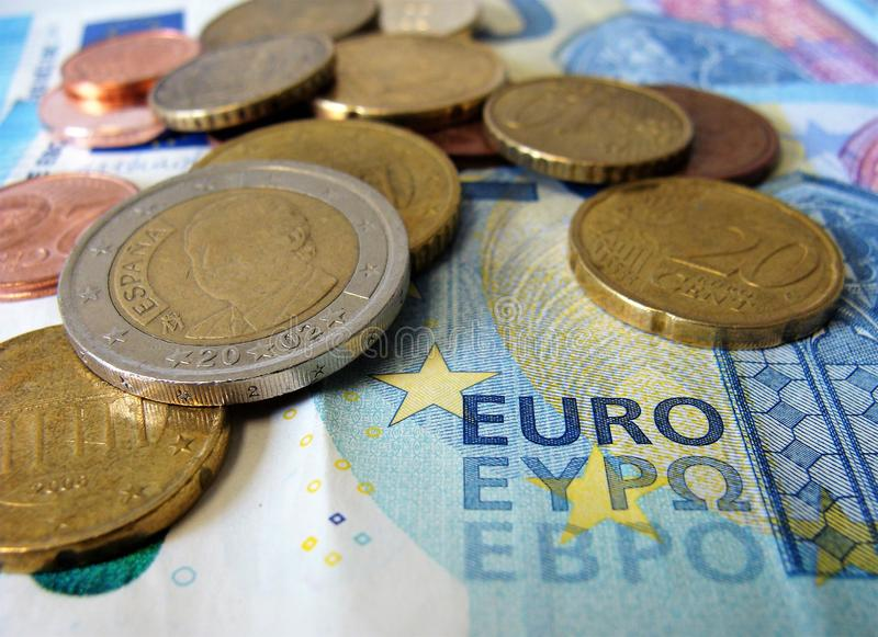 Euro curreny cash. Closeup view on different coins and bills in euro currency stock photos