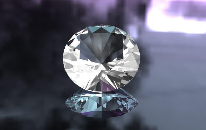Euro cut round diamond on glossy surface royalty free stock photo