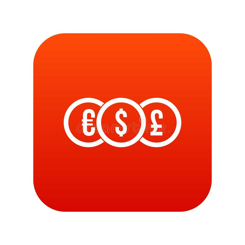 Euro, dólar, rojo digital del icono de la moneda de libra ilustración del vector
