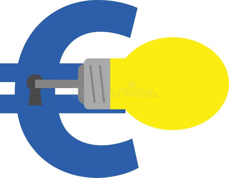 Euro d'apertura chiave della lampadina royalty illustrazione gratis