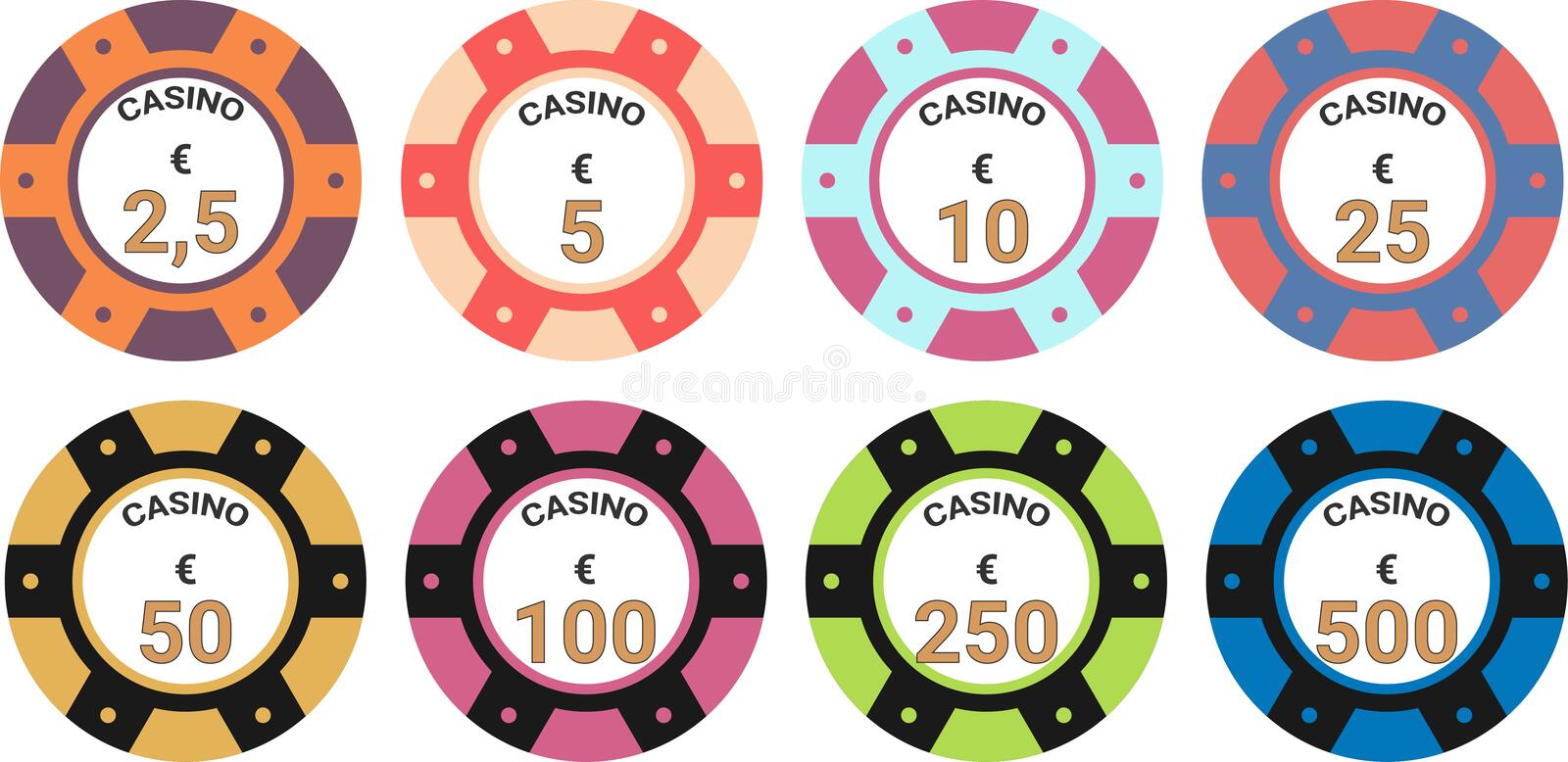 Euro d'illustration de vecteur d'ensemble de puces de casino illustration libre de droits