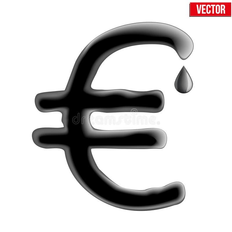 Euro da moeda na textura do óleo ilustração royalty free