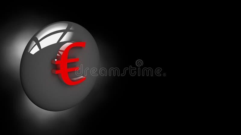 Euro de bouton dans l'illustration 3D image libre de droits