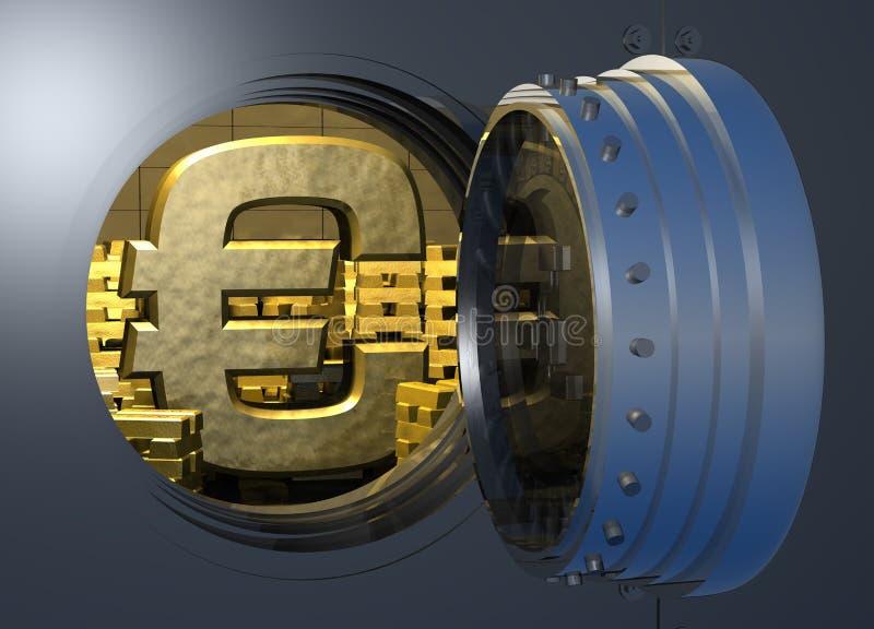 Euro de chambre forte d'or illustration de vecteur