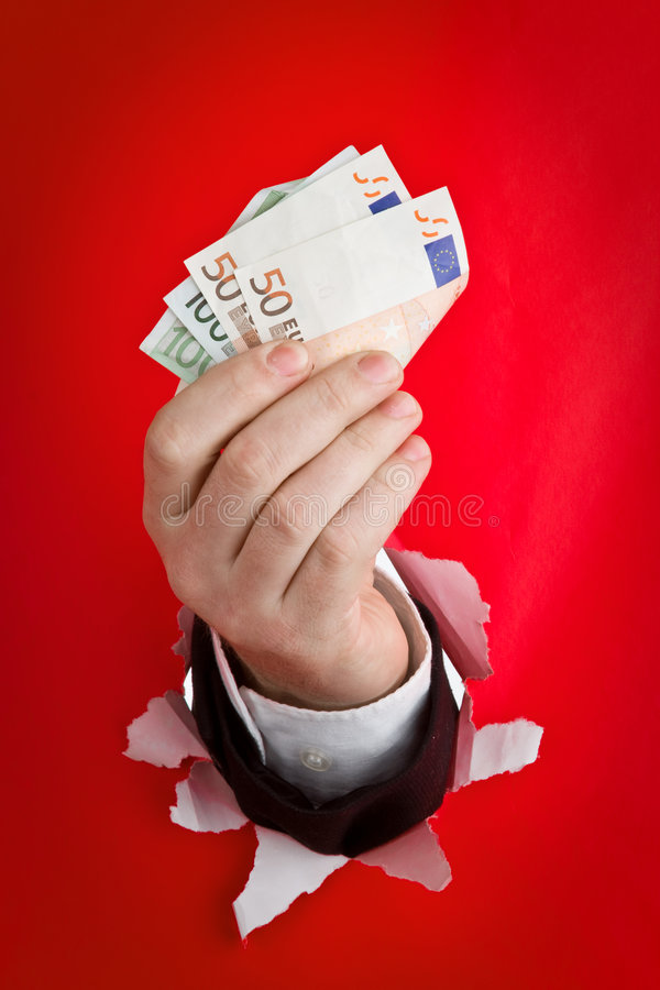 Euro de fixation de main photographie stock libre de droits