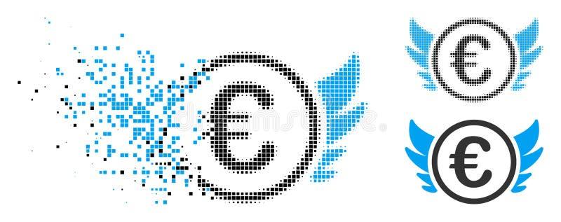 Euro de intervalo mínimo danificado Angel Investment Icon do pixel ilustração stock