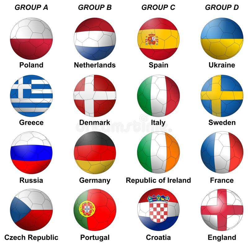Euro de l'UEFA 2012 groupes illustration libre de droits
