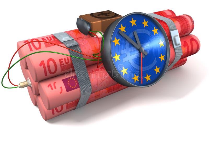 Euro de la bomba de relojería ilustración del vector