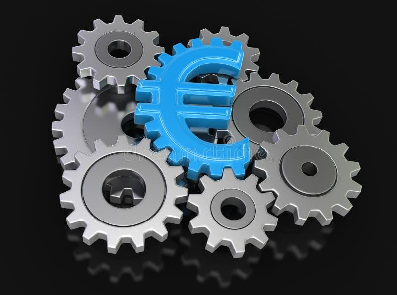 Euro de la rueda dentada (trayectoria de recortes incluida) stock de ilustración