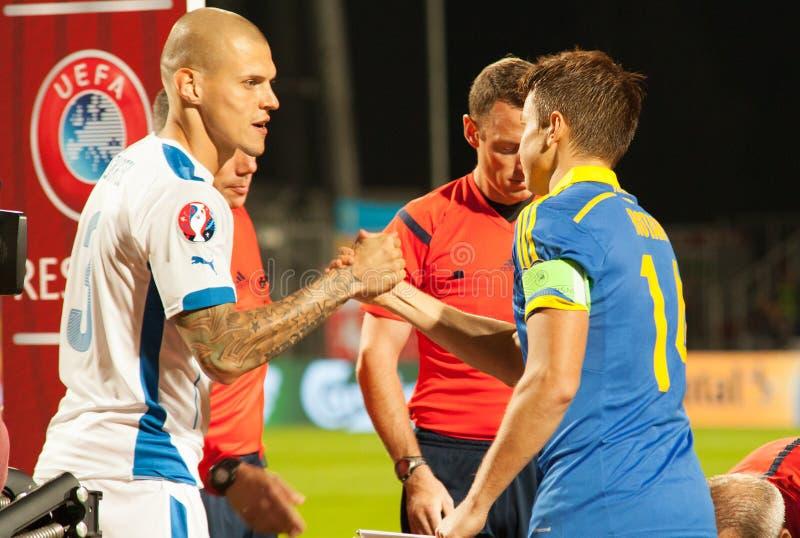 EURO de la UEFA Eslovaquia 2016 - Ucrania hace juego el 8 de septiembre de 2015 foto de archivo