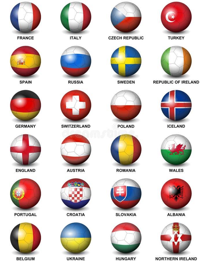 Euro 2016 de las banderas de países de europeo del balón de fútbol stock de ilustración