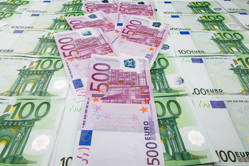 Euro de monnaie fiduciaire Fond des billets de banque image libre de droits