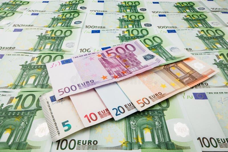 Euro de monnaie fiduciaire Fond des billets de banque image stock