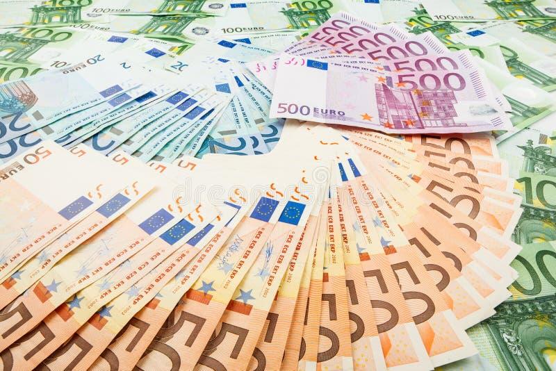 Euro de monnaie fiduciaire Fond des billets de banque photographie stock