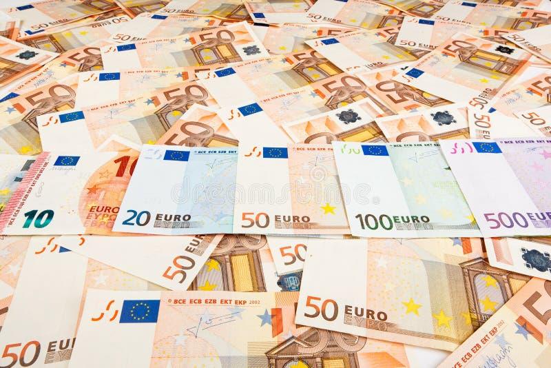 Euro de monnaie fiduciaire Fond des billets de banque photographie stock libre de droits
