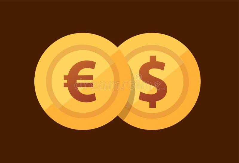 Euro de paires - dollar - icône de vecteur avec les pièces de monnaie d'or dans le style plat illustration de vecteur
