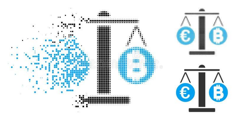 Euro de pixel et icône tramés endommagés d'échelles de Bitcoin illustration stock