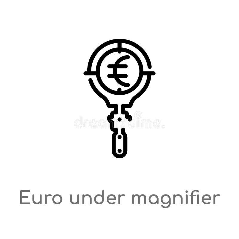 euro del esquema bajo icono del vector de la lupa línea simple negra aislada ejemplo del elemento del concepto del negocio Vector stock de ilustración