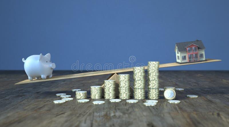 Euro des Sparschwein-Haus-ständigen Schwankens prägt Wachstum vektor abbildung