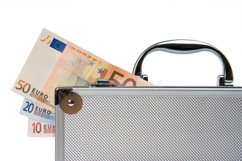 Euro- desconte dentro a mala de viagem de prata isolada imagem de stock royalty free