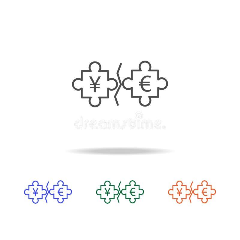 euro di puzzle ed icona di Yen Elementi della guerra commerciale nelle multi icone colorate Icona premio di progettazione grafica illustrazione di stock