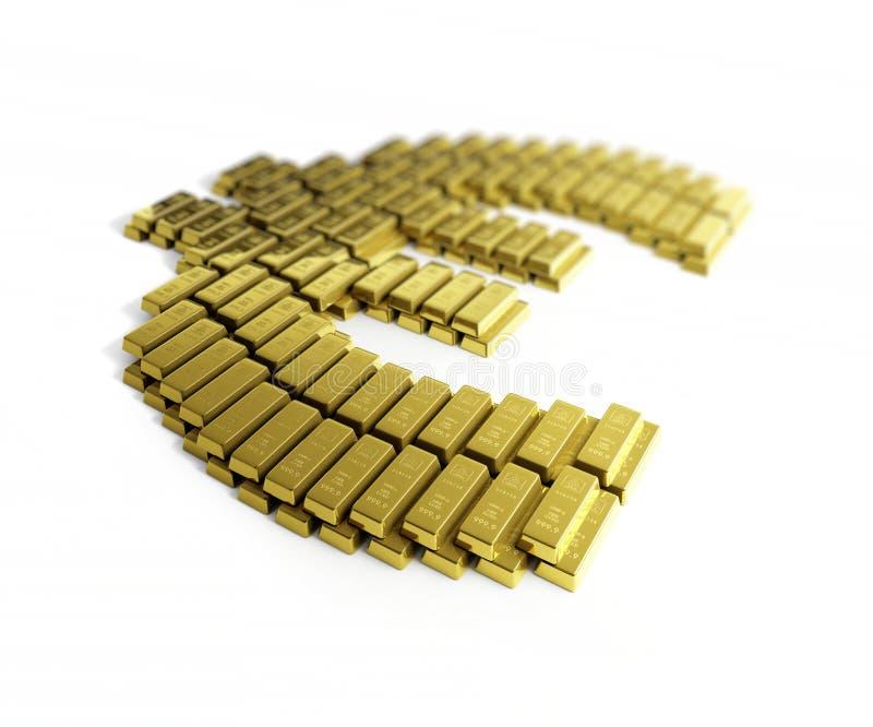 Euro di symbo dell'oro illustrazione di stock