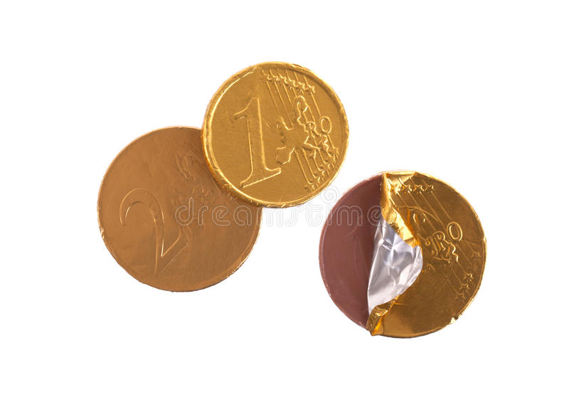 Euro die munt, chocolademuntstukken op wit worden geïsoleerd royalty-vrije stock afbeelding