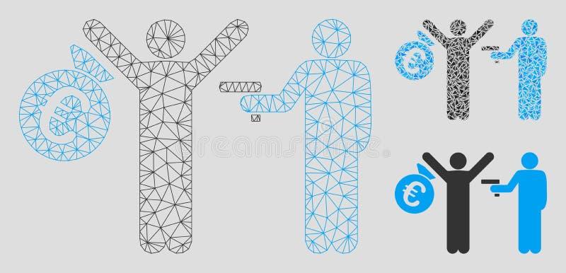 Euro Diefstal Vector het Mozaïekpictogram van Mesh Network Model en van de Driehoek stock illustratie