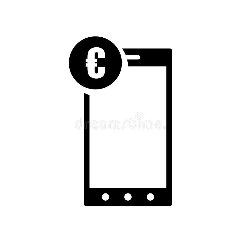 Euro digitaal handelsteken op het pictogram vectorteken van het tabletscherm en symbool dat op witte achtergrond, Euro digitaal h royalty-vrije illustratie