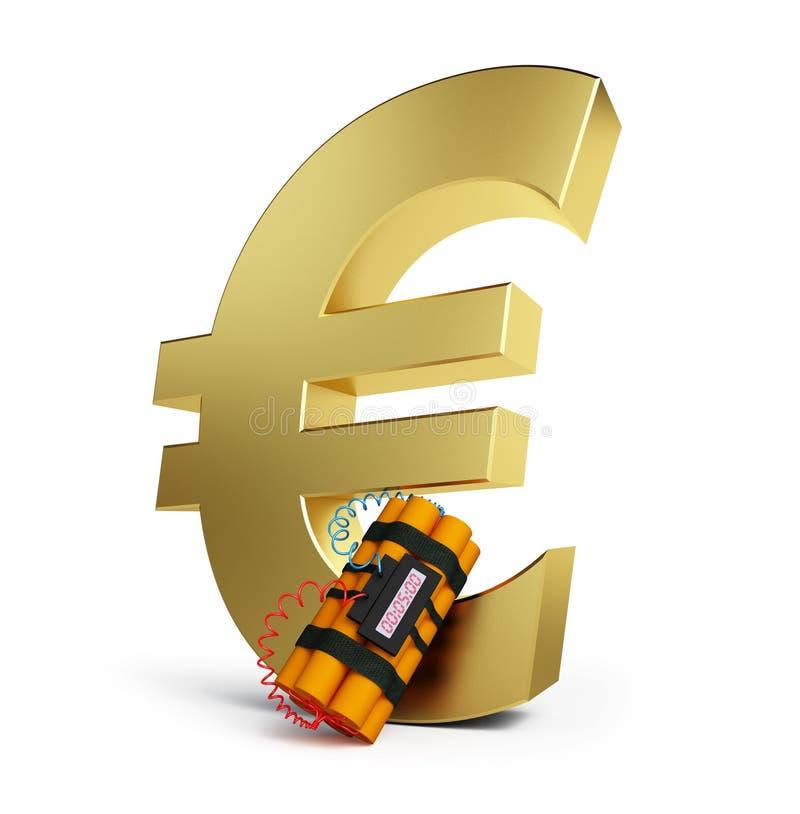 Euro- dinamite da crise ilustração stock