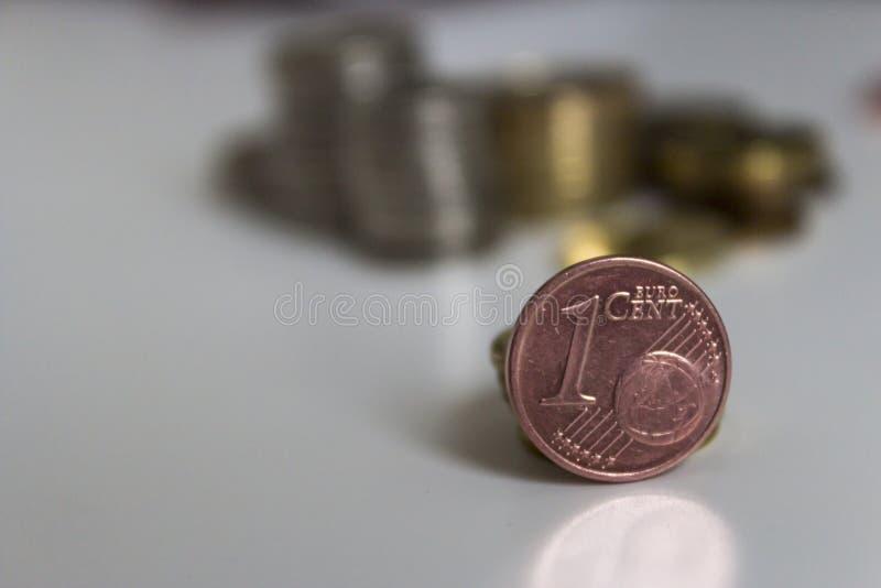 1 euro- dinheiro do centavo fotos de stock royalty free