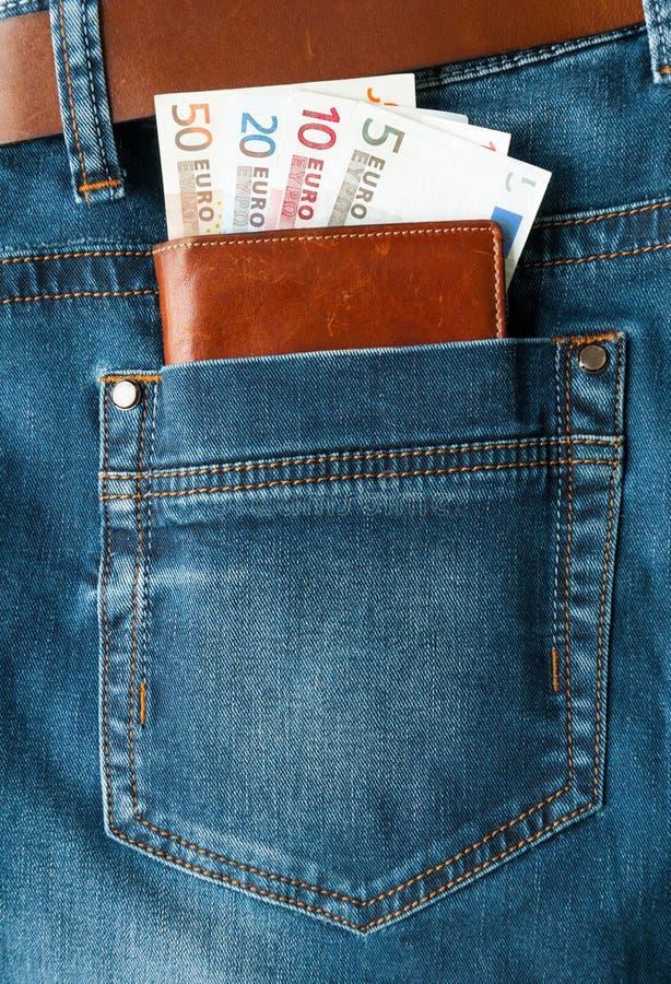 Euro- dinheiro no bolso fotografia de stock royalty free