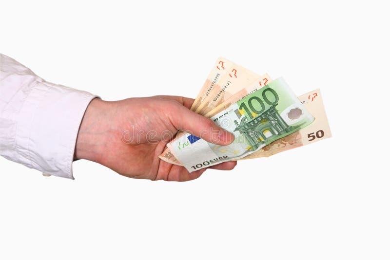 Euro a disposizione immagine stock