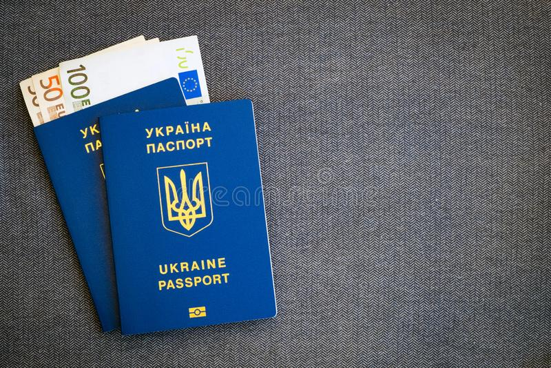 Euro do dinheiro e dois passaportes azuis ucranianos em um fundo cinzento de desenhos em espinha de pano foto de stock