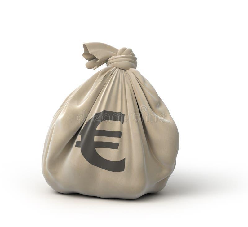 Euro do saco do dinheiro ilustração do vetor