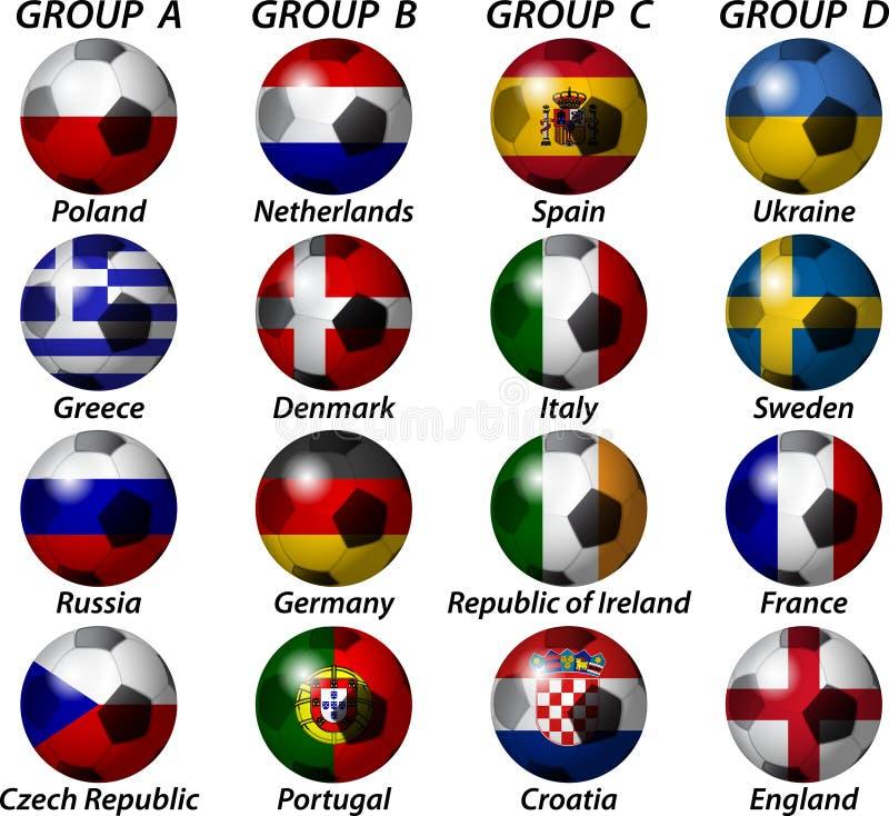 Euro do UEFA 2012 grupos ilustração do vetor