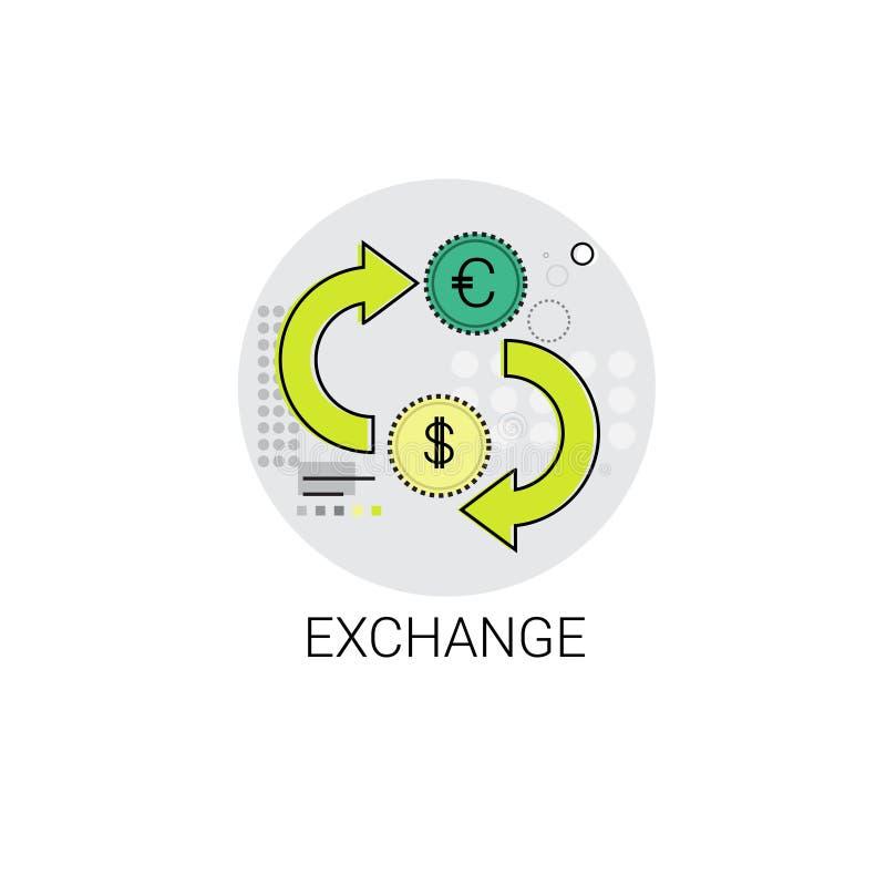Euro dolar monety pieniądze wymiany finanse ikona ilustracja wektor