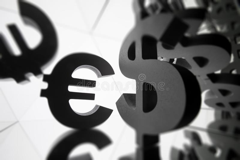 Euro, Dolarowy waluta symbol Z Wiele Odzwierciedla wizerunkami Ja zdjęcie stock