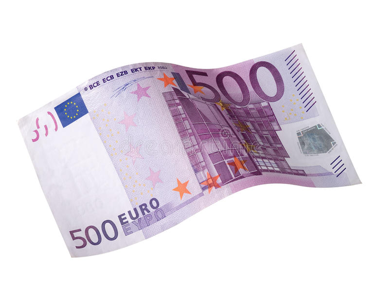 Euro dollar. Five hundred euro doller fly stock photography