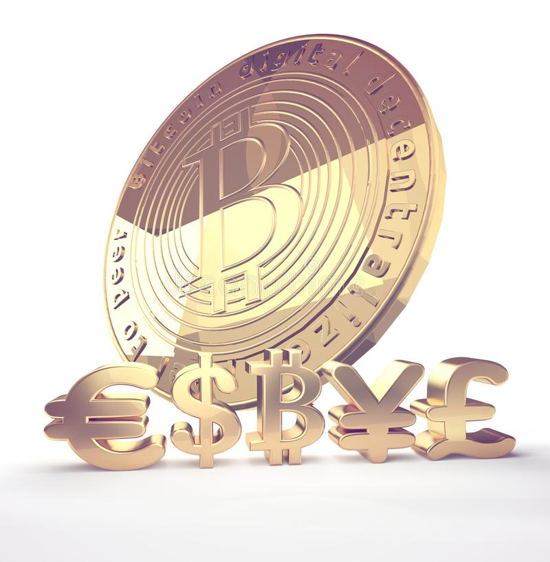 Pay With Bitcoin Symbol 3d Rendering Design Stock Illustration - Illustration of isolated ...