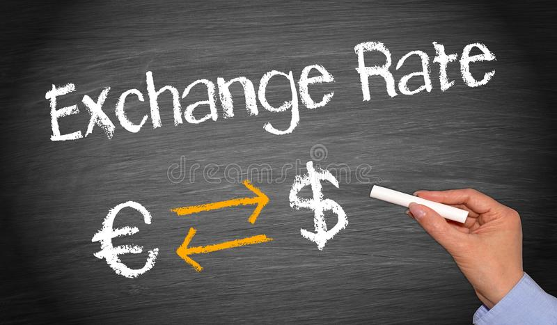 Euro and Dollar Exchange Rate stock images