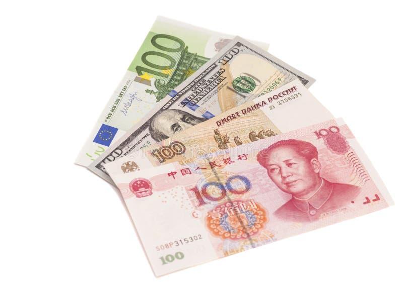 Euro, dollar, kinesisk yuan och de ryska rublen royaltyfri foto
