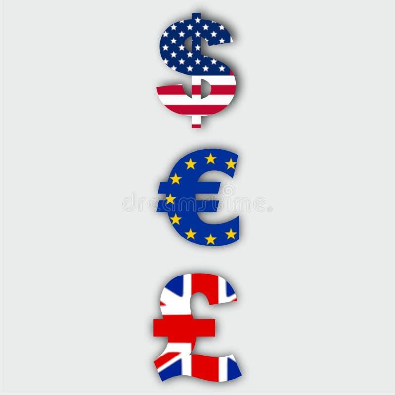 Euro, Dollar and Pound royalty free stock photos
