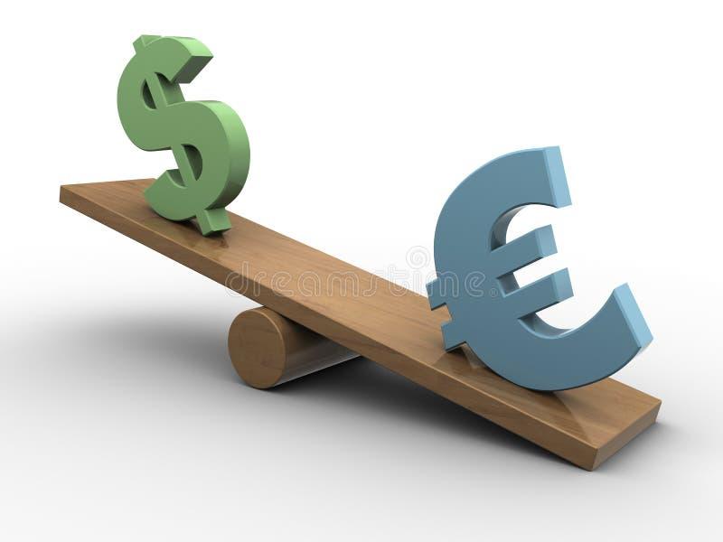 Download Euro and dollar seesaw stock illustration. Illustration of horizontal - 30961451