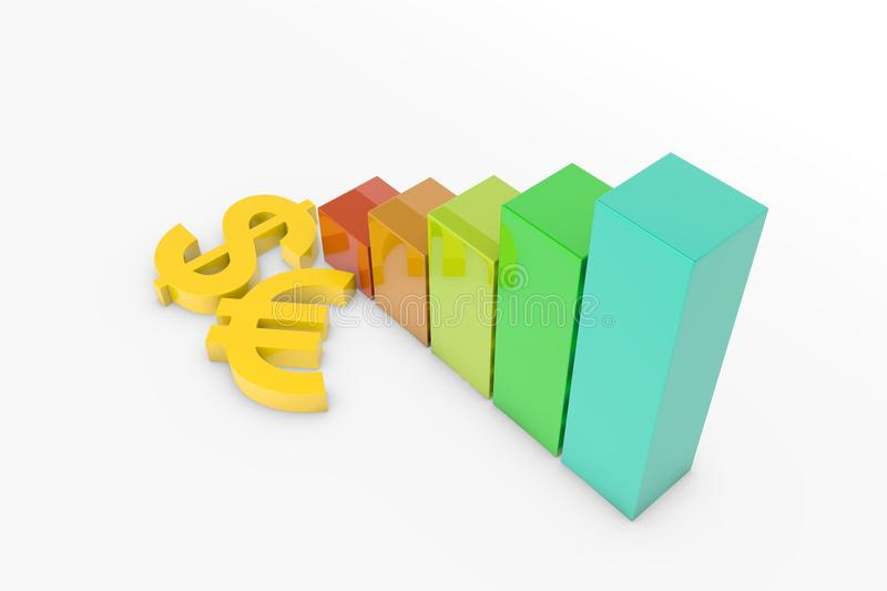 Euro and dollar sign with graph. In white background royalty free stock photos