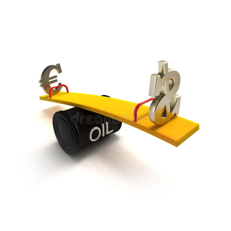 Euro And Dollar Signs On A Seesaw Of Oil Barrel Royalty Free Stock Photo