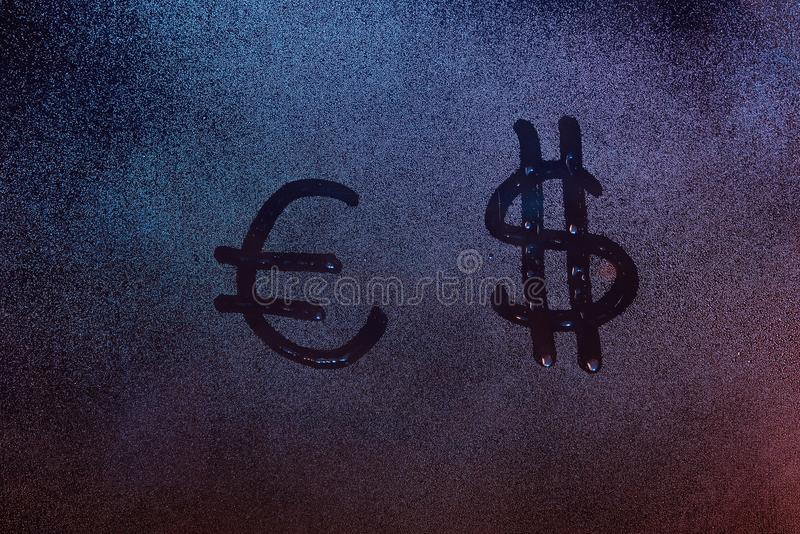 Euro And Dollar Symbol Stock Photo Image Of Glass Drop 109503866